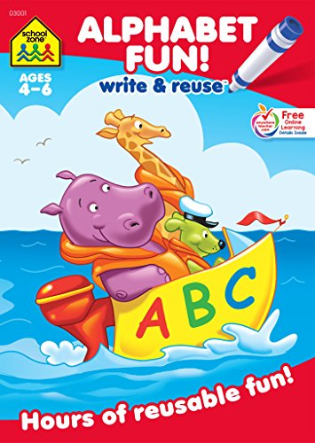 School Zone - Alphabet Fun! Write & Reuse Workbook - Ages 4 to 6, Preschool to Kindergarten, Tracing, Printing, Letters, Sounds, Phonics, Wipe Clean (School Zone Write & Reuse Workbook)
