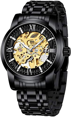 Mens Watches Black Mechanical Automatic Self-Winding Stainless Steel Skeleton Luxury Waterproof Diamond Dial Wrist Watches for Men