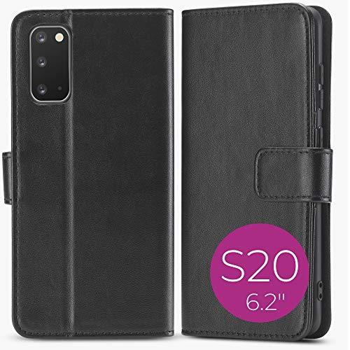 Clint Hülle geeignet für Samsung Galaxy S20 PU Leder - Movie - Schwarz Handyhülle Hülle PU Lederhülle mit Kartenfach, Standfunktion & RFID Schutz