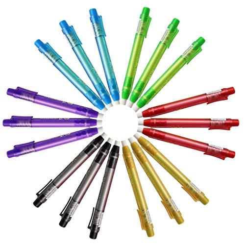 Creatiees 18 Stücke Tragbar Stift-Stil Radierstift nachfüllbarer Radiergummi mit Assortiert Fässer zum Kinder oder Studenten, die Malerei-Geschenk-Preis zeichnen(6 Farben)