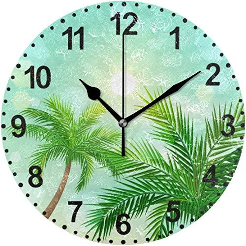 77 xiochgzish Reloj de Pared, Palmeras Tropicales y Sol en Zenith Reloj de Escritorio silencioso analógico de Cuarzo de 10 Pulgadas para el hogar y la Oficina
