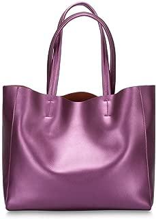 Fashion Ladies Leather Bag/Fashion Pearl Leather Cow Shoulder/Shoulder Messenger Bag/Outdoor Travel Backpack (Color : Purple)
