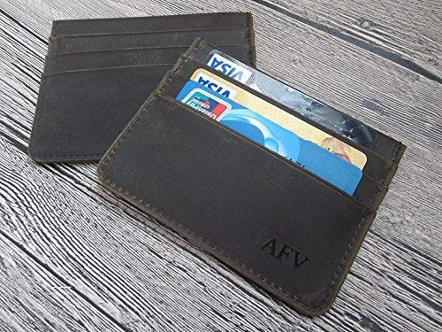 leather card sleeve front pocket wallet PERSONALIZED Minimalist card Sleeve slim wallet leather card holder