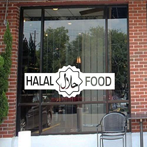 XYVRS Halal Islamic Sign Wandaufkleber Vinyl Shop Restaurants Lebensmittel Outlet Metzger Fenster Dekor Aufkleber Tür Wandbilder Abnehmbar57x20cm