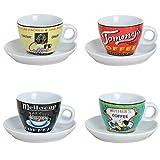 Conjunto de 4 tazas con diseños variados de café expreso en Porcelana (platos incluídos)