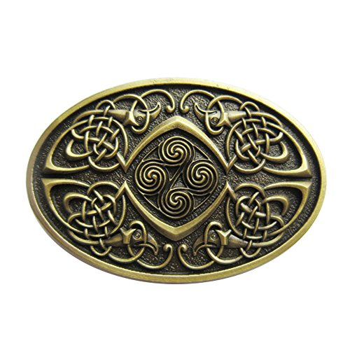 Vintage Bronze Plated Celtic Legend Phoenix Oval Belt Buckle