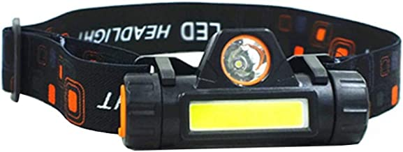 NICEJW USB Rechargeable Head Lamp,Waterproof COB LED Outdoor Mini Head Torch,Adjustable Headband Flashlight Headlight for ...