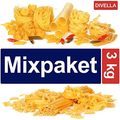 3 kg Nudeln verschiedene Sorten von Divella Spaghetti penne Bandnudeln Fusilli Fettuccine Eclicoidali Sgambaro Elicoidali Mixpaket Vorratspaket