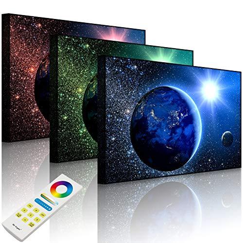Lightbox-Multicolor | LED Bild Leuchtbild | Erde im Weltall | 100x70 cm | Front Lighted