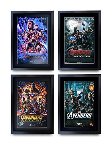 HWC Trading Filmposter, A3 FR Avengers, Infinity War, Endgame, Robert Downey Jr., Chris Evans, Chris Hemsworth mit Autogramm, gerahmt, A3 Alle 4 Poster