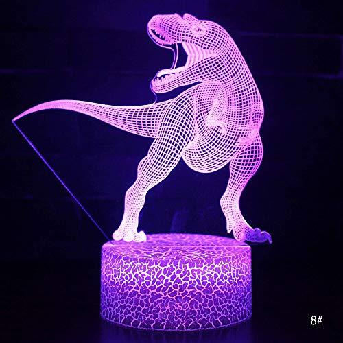 3D LED Lámpara de luz nocturna Dinosaur Series3D Luz de noche Control remoto Lámparas de mesa Juguetes Regalo para niños Decoración del hogar