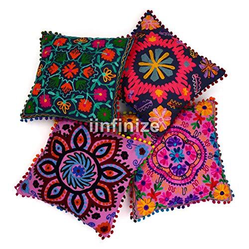 iinfinize - Funda de almohada marroquí Sujani (16 x 46 pulgadas), de algodón, para habitación de los niños, 4 unidades