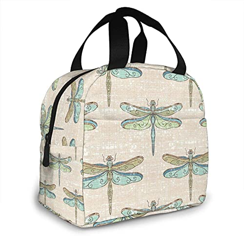 Dragonflies - Borsa termica portatile per il pranzo da donna, con tasca frontale, per donne, uomini, ragazze, bambini, 22 x 13 x 20 cm