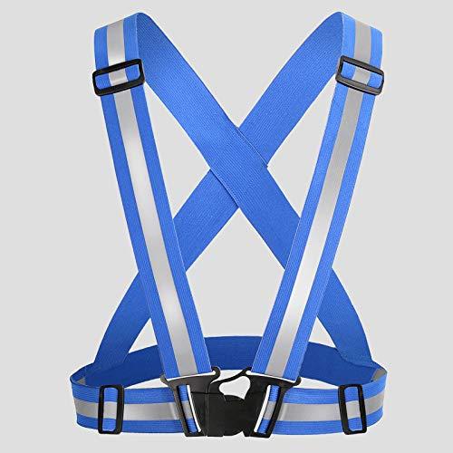 Warnweste,Reflektierende Gurt,Hohe Sichtbarkeit, verstellbar & Elastik Outdoor Sicherheitsweste,Reiten Nacht Laufsport Verkehr fluoreszierende Sicherheit Kleidung und Nacht mit Notfall-Blau