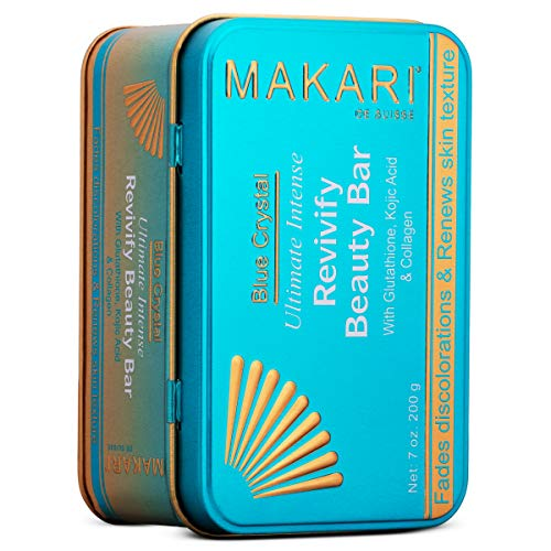 Makari Blue Crystal Revivify Beauty Bar Soap 7oz – Lightening, Brightening Cleansing Exfoliating Soap Bar With Natural Glutathione – Exfoliates Dead Skin And Lightens Dark Complexion