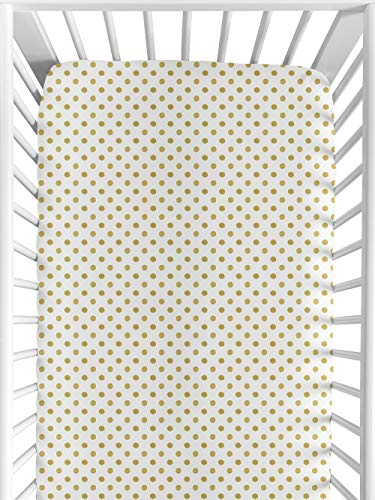 Fitted Crib Sheet for Amelia Baby/Toddler Bedding by Sweet Jojo Designs – Gold and White Polka Dot