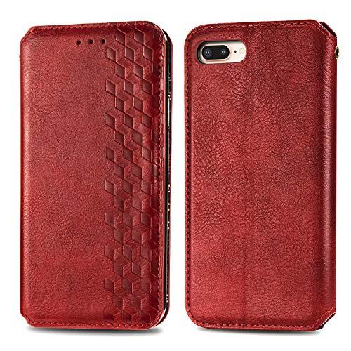 Trugox Cover Portafoglio per iPhone 8Plus / 7Plus / 6S Plus in Pelle Custodia a Libro con Supporto Antiurto Case Cover Wallet per Apple iPhone 8 Plus/iPhone 7 Plus / 6 Plus - TRSDA120406 Rosso