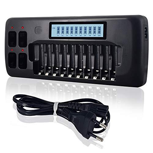 PALO 10+4 Universal LCD Ladegerät Akku Ladegerät für AA, AAA, 9v, NI-MH, NI-Cd, Li-ionen Akku, 12 individuellen Ladekanäle