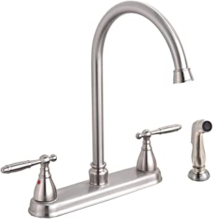 SHACO Brushed Nickel Two Handle Kitchen Faucet With Sprayer,High Arch 360 Swivel Kitchen Faucet Side Sprayer