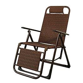 Chaise de Patio inclinable en rotin  Fauteuil inclinable verrouillable Zero Gravity Salon Jardin Pelouse  Chaise Longue d'extérieur surdimensionnée Pliante, Marron