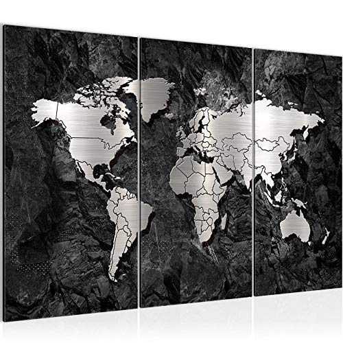 Runa Art Carte Du Monde Peinture Tableau Salon XXL Noir Abstrait Argent 120 x 80 cm 3 Parties Decoracion Murale 107331a
