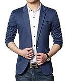 Men's Premium Casual One Button Slim Fit Blazer Suit Jacket (3625 Blue, M)