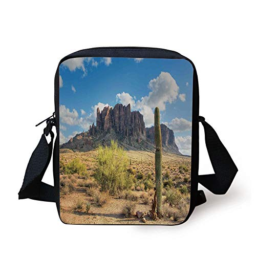 Kids Crossbody Messenger Bag Purse,Famous Canyon Cliff with Dramatic Cloudy Sky Southwest Terrain Place Nature