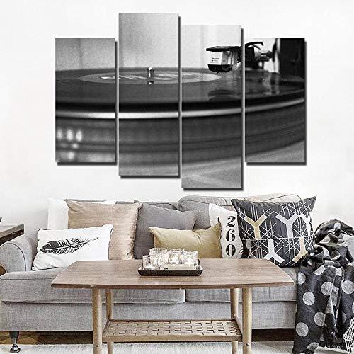 Canvasdruk muurkunst muziek CD record schilderij wooncultuur 4 stuks zwart wit DJ speler foto-40x80 40x100 cm geen lijst