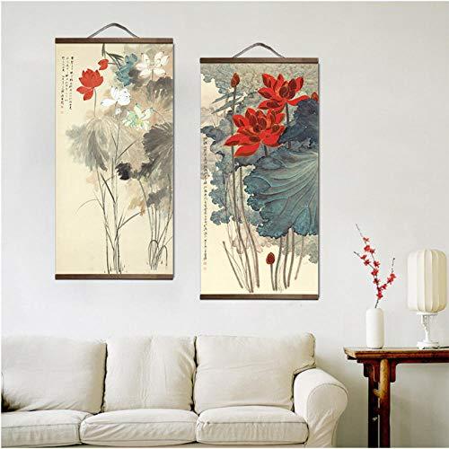 Landschap in Chinese stijl groene planten canvas decoratief schilderij winkel slaapkamer woonkamer muurkunst massief hout letterrollen schilderijen 60x120cmx2 niet ingelijst