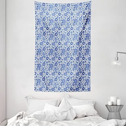 ABAKUHAUS Niederländisch Wandteppich & Tagesdecke, Delft-Art-Gekritzel Blumen, aus Weiches Mikrofaser Stoff Dreck abweichender Digitaldruck, 140 x 230 cm, Violett Blau & Weiß