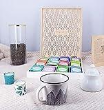 pagès coffret en bois ajouré 11 recettes prestige du monde thé et infusion bio 12x5 sachets