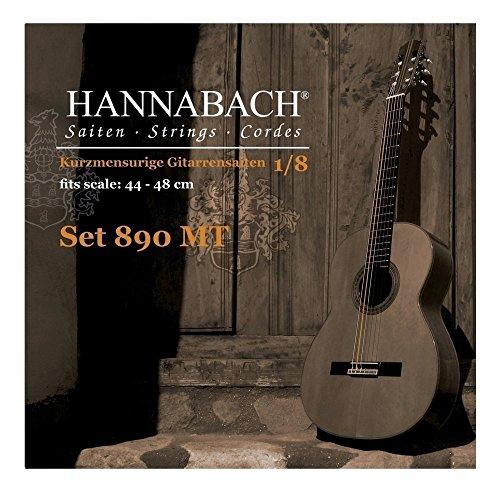 Hannabach 653057 Klassikgitarrensaiten Serie 890, 1/8 Kindergitarre Mensur:44-48 cm, umsponnene G-Saite - Satz