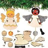 Baker Ross AX386 Engel Puppendekorationen aus Holz Bastelset für Kinder - 4 Stück, Festliche...