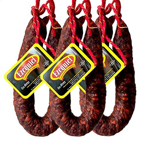 Embutidos Ezequiel Pack Chorizo Extra Picante Curado Ahumado, Chorizo de León 3 Udes. 1.3 kg 1300 g