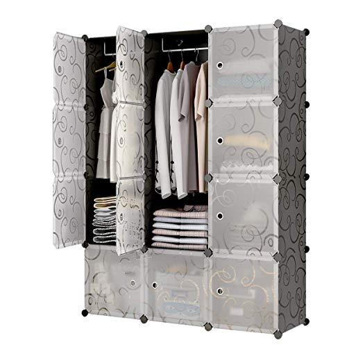 Sawekin Kleiderschrank mit 2 Kleiderstange Faltbare Garderobe Faltschrank Stoffschrank DIY Regalsystem Kleiderschrank Garderobenschrank (12 Würfel)