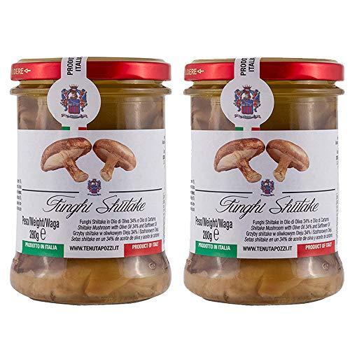 TENUTA POZZI Setas Shiitake (lentinus edodes) en aceite de oliva y aceite de cártamo (2 x 280 gr), Made in Italy, Conserva de setas Shiitake