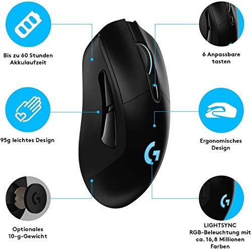 Logitech G703 LIGHTSPEED kabellose Gaming-Maus mit HERO 25K DPI Sensor, Wireless Verbindung, LIGHTSYNC RGB, POWERPLAY-kompatibel, geringes Gewicht von 95g, PC/Mac, Schwarz - 7