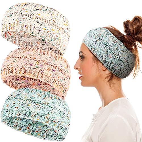 Konfetti Winter Strick Stirnbänder Elastische Häkel Kopfwickel Winter Ohrwärmer Winter Gestrickte Stirnbänder für Frauen Mädchen