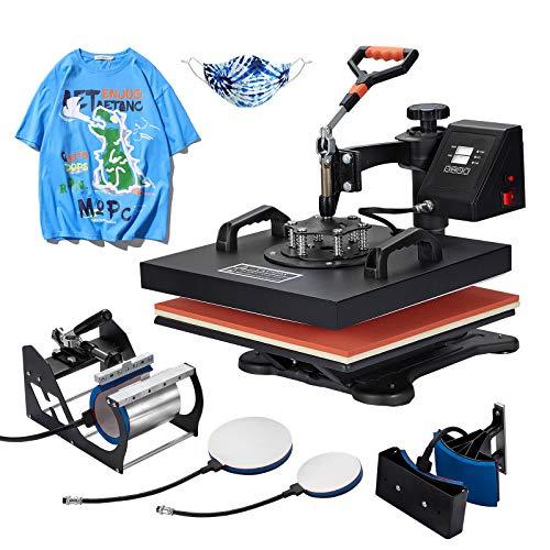 Homedex 15x15 Inch Heat Press 5 in 1 Heat Transfer Machine with Slide Out Drawer 1400W Digital Multifunctional Combo Swing Away Heatpress Machine for T-Shirt Mug Hat Cap Plate