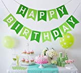 Moohome Green and Light Green Happy Birthday Banner Signs Birthday Party Supplies for Girl's Birthday Party Backdrop Hanging Decorations