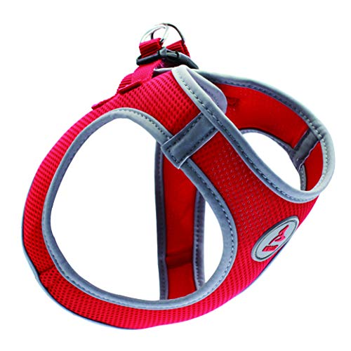 KRUZ PET KZA306-14S Reflective Mesh Dog Harness, No Pull, Easy Walk, Quick Fit, Comfortable, Adjustable Pet Vest Harnesses for Walking, Training, Small, Medium Dogs - Red - Small