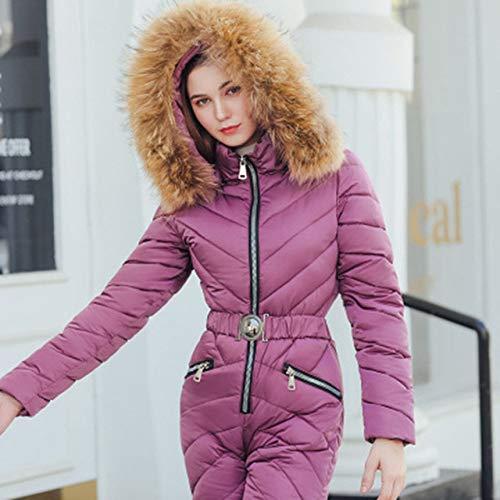 YRFDM Combinaison de Ski,Hiver Ski Suit Femmes De Haute Qualité À Capuche Ski Veste Pantalon Neige Chaud Coupe-Vent Ski Vêtements Snowboard Femme Ski Combinaisons, b, XXL