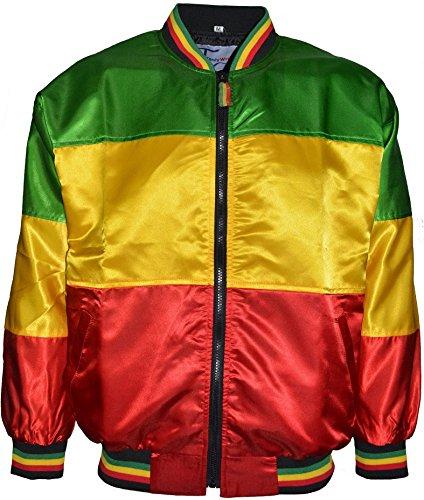 Giacca da uomo in stile rasta, lucida, vestibilità larga, scollo a V, morbida, rosso, oro e verde Red-Goldon-Green Large