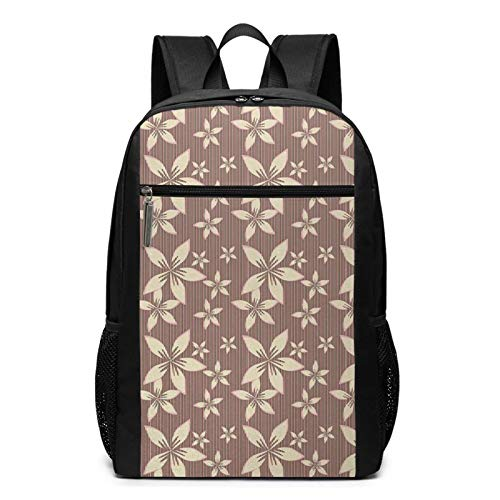 School Backpack Form Blossoms Over Pastel Striped, College Book Bag Business Travel Daypack Casual Rucksack for Men Women Teenagers Girl Boy
