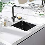 Bar Sink, TORVA 14 x 18 Inch Undermount Kitchen Sink, Gloss Black Ceramic Coating with NanoTek Undermount, 16 Gauge 304 Stainless Steel Single Bowl Wet Bar or Prep Sink with Zero-Radius Corners, Black