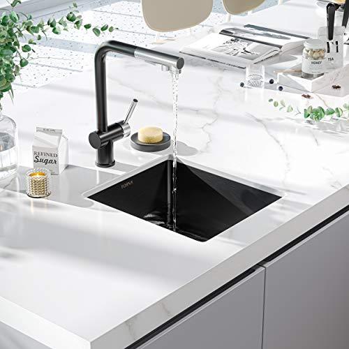 TORVA 15 x 17 Inch Gloss Black Ceramic Coating with NanoTek Undermount Kitchen Sink, 16 Gauge Stainless Steel Wet Bar or Prep Sinks Single Bowl, Fits 18' Cabinet,Black