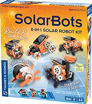 Thames & Kosmos SolarBots: 8-in-1 Solar Robot STEM Experiment Kit | Build 8 Cool Solar-Powered Robots in Minutes | No Batteries Required | Learn About Solar Energy & Technology | Solar Panel Included