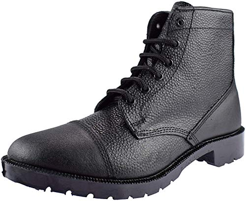 Grafters Men's 6 Eyelet Leather Cadet Boots 9 UK Black