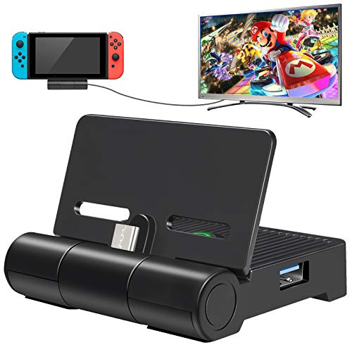 ALIENGT Nintendo Switch Dock, Portable TV Docking Station Charging Stand Replacement for Nintendo Switch Dock Base, Mini Switch Dock Set with HDMI, USB 3.0 Port and Air Outlet (Upgraded Version)