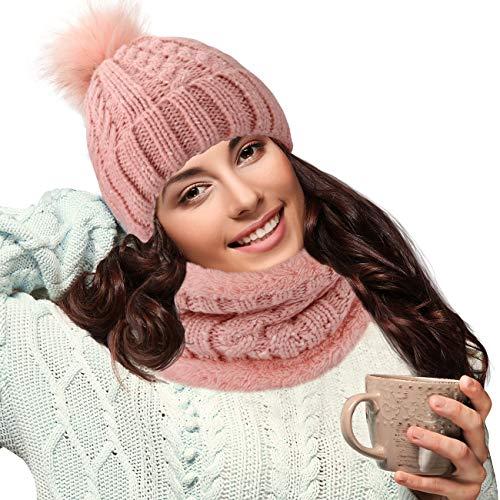Maylisacc Conjunto Gorro y Bufanda Mujer Térmica Cálida, Gorro Pompon Calentador de Cuello Invierno Slouch Beanie con Forro, Rosa